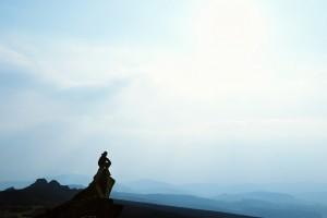Man admiring mountain view